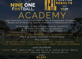 Nine One Football Academy To Launch in 2018