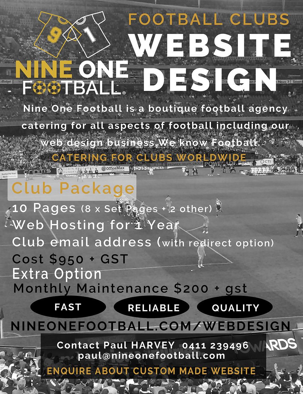 Nine One Football Website Design