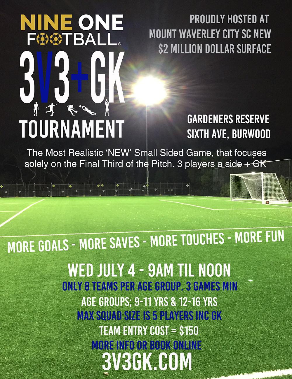 Nine One Football 3v3+GK Tournament