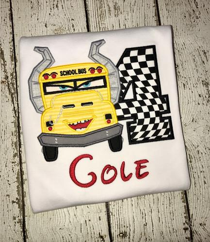 Cars 3 School Bus Applique Birthday Shirt