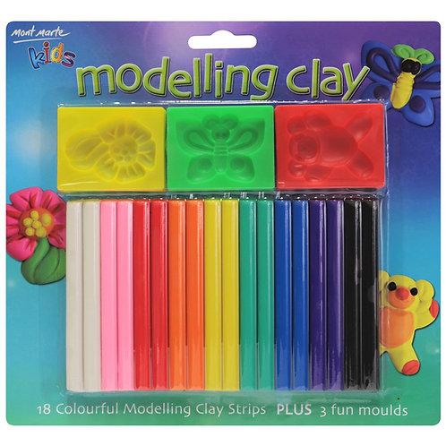 Kids Colour Modelling Clay Set w/Moulds 21pce