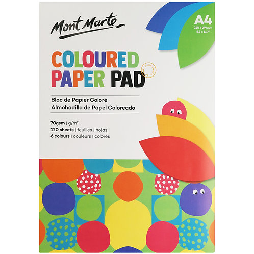 Coloured Paper Pad A4 120 Sheets 70gsm