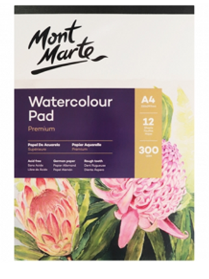 Premium Watercolour Pad German Paper 300gsm A4 12 Sheet