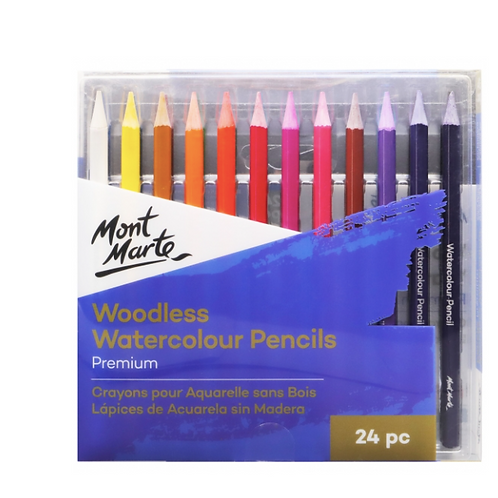 Premium Woodless Watercolour Pencils 24pc