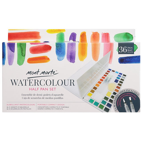 Premium Watercolour Half Pan Set 40pce, 27pce or 21pce sets