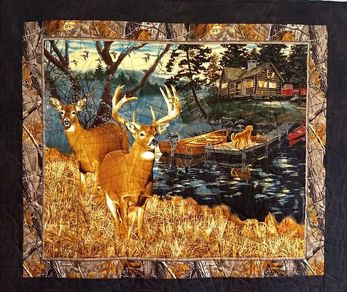 Deer panel quilt with skewed squares lon