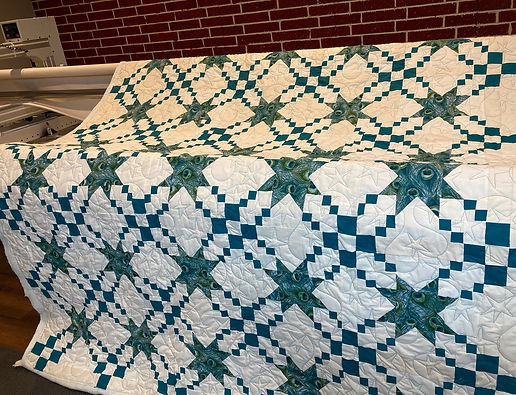 longarm quilting on star quilt