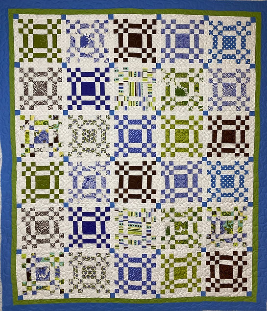 9 patches quilt with longarm quilting