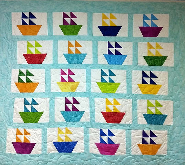 sailboat quilt with anchors longarm quil