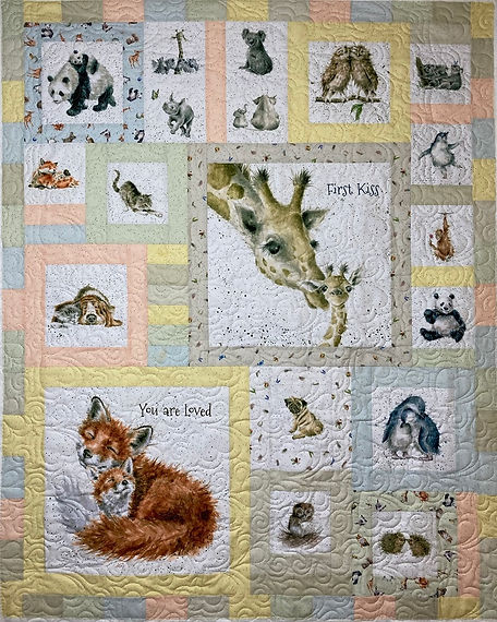 baby quilt with animals, longarm quiltin