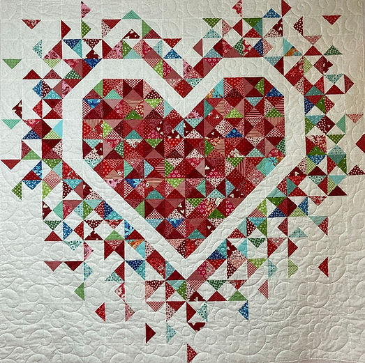 Heart quilt with Elegant Hearts longarm