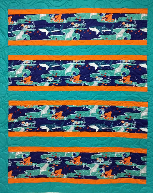Kids marine animal quilt with bora bora
