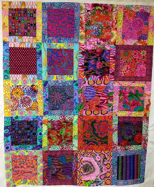 colorful quilt longarmed by Apple Basket