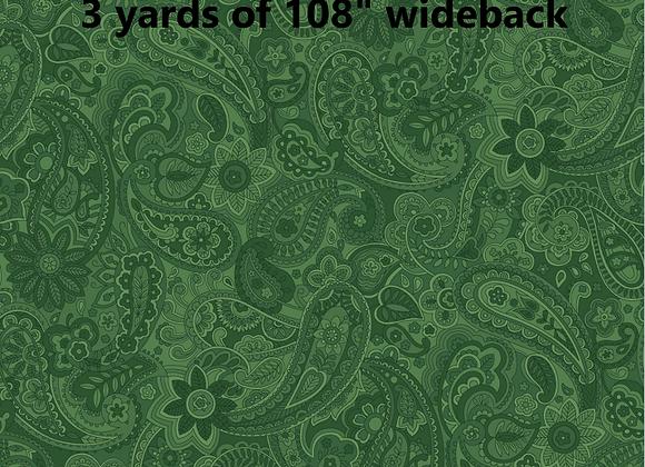 3 yards of Green Paisley Wideback