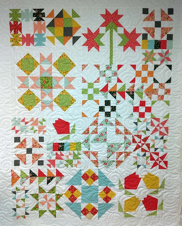 colorful floral sampler quilt with bora