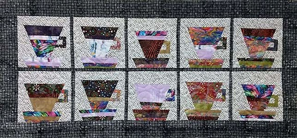 Cute table runner pieced with cups, long