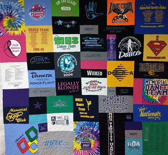 T-shirt quilt longarmed by Apple Basket