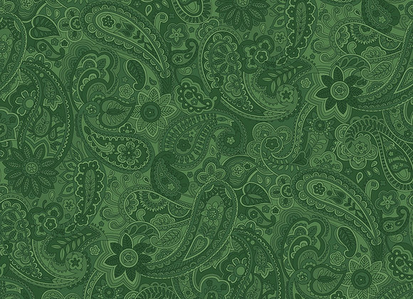 Green Paisley by half yard