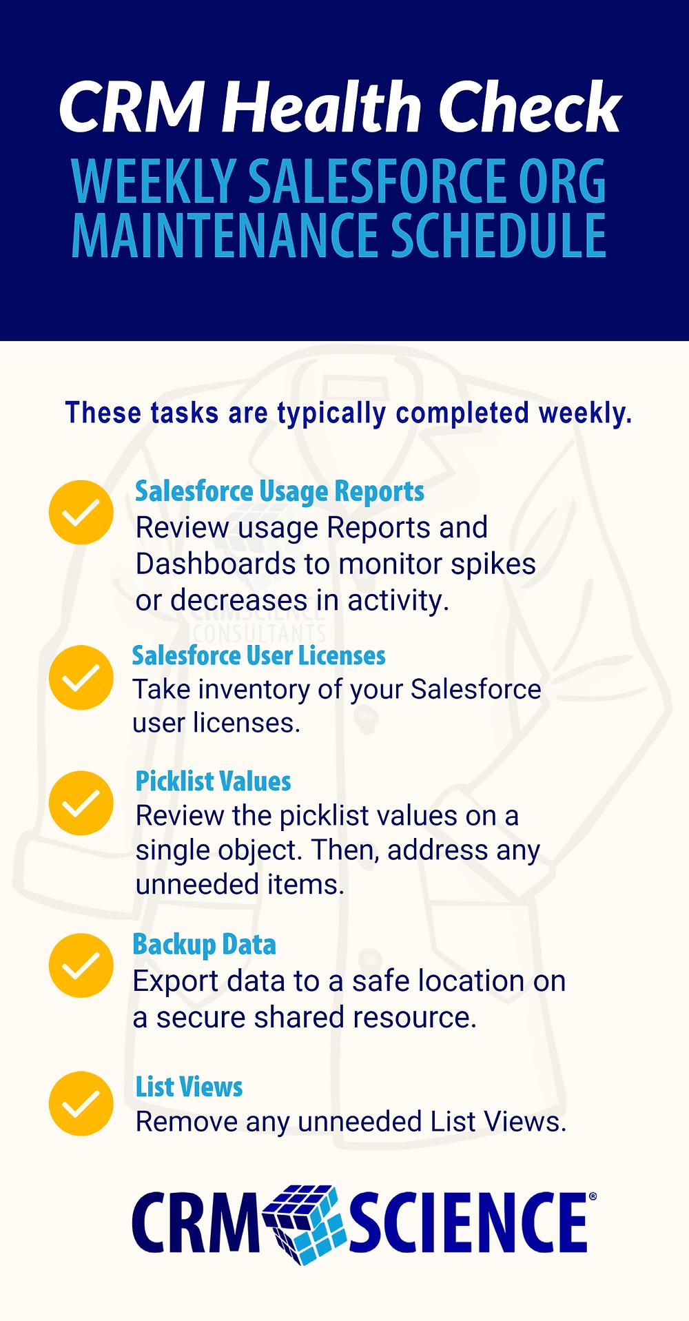 CRM Health Check: Weekly Salesforce Org Maintenance Schedule
