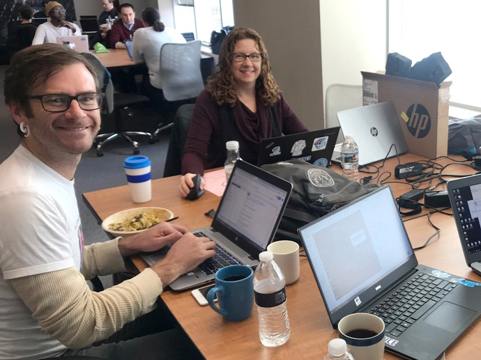 Nate Pepper and Laura Assayag during 2019 CRM Science Co-Working Week