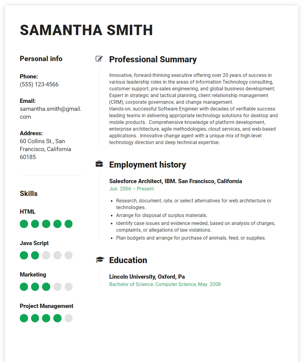 Salesforce resume example