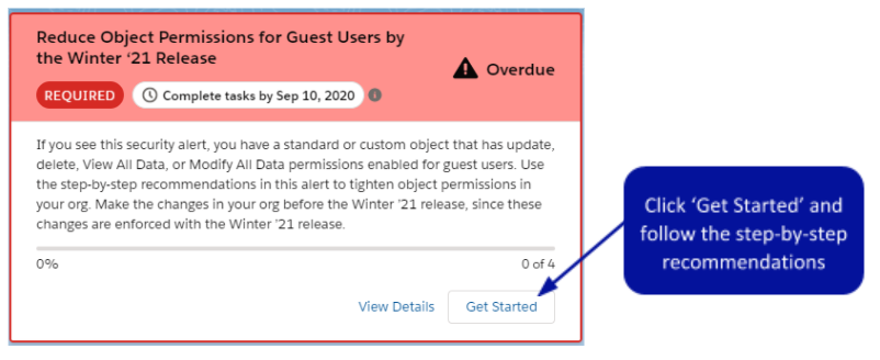 Reduce Object Permissions for Guest Users security alert