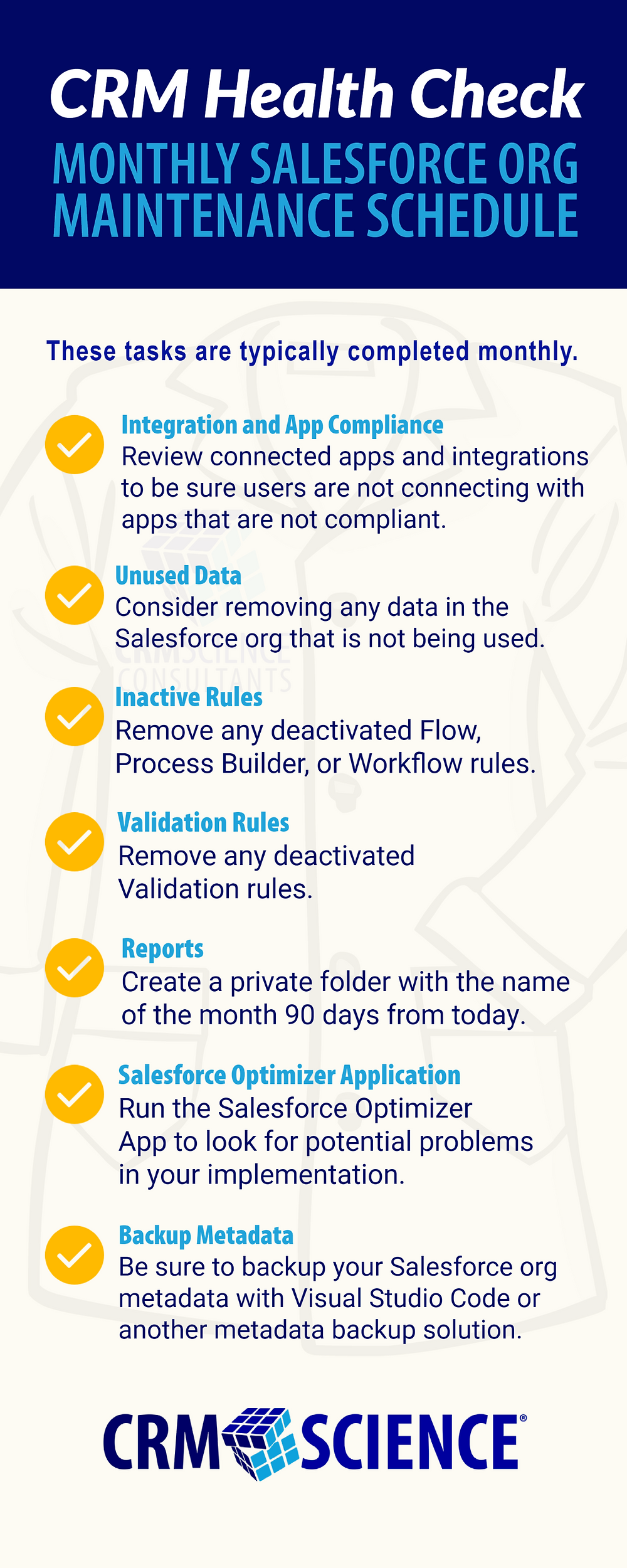 CRM Health Check: Monthly Salesforce Org Maintenance Schedule