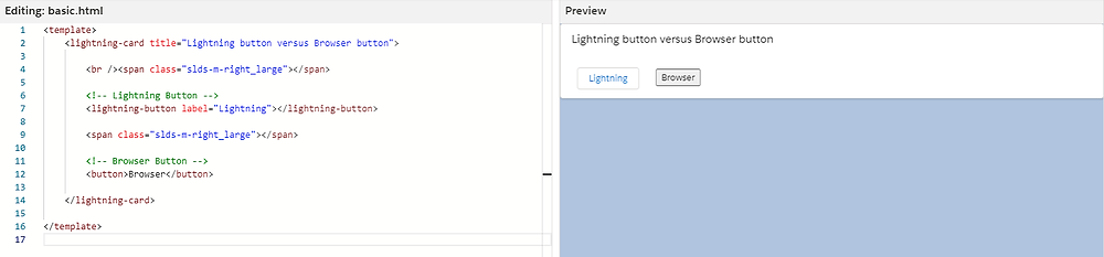 Lightning Button versus Browser Button - Lightning button includes company branding look and feel