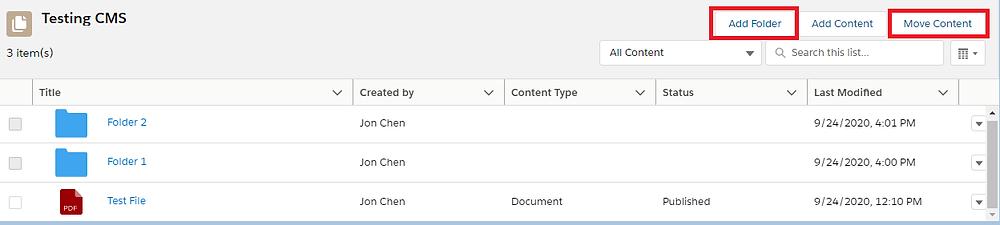 Salesforce CMS Folders