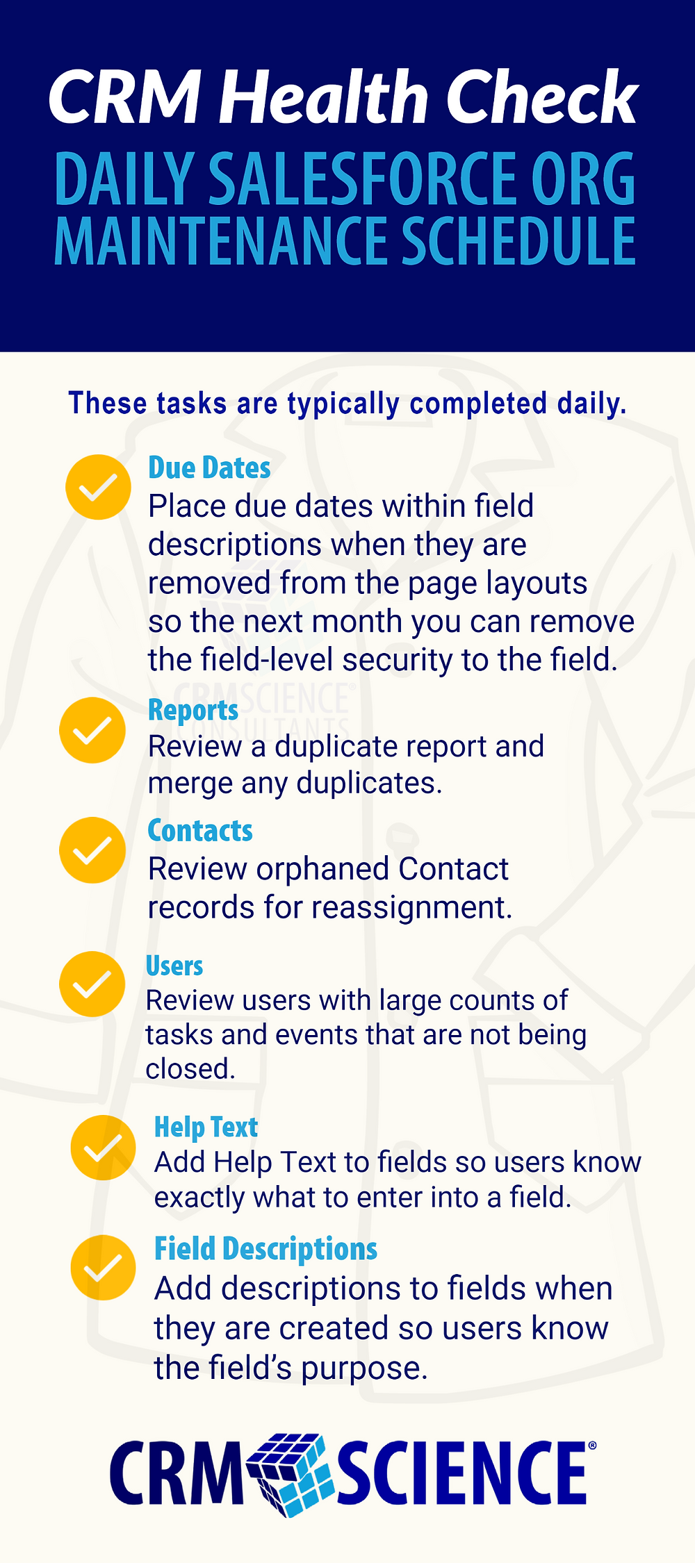 CRM Health Check: Daily Salesforce Org Maintenance Schedule