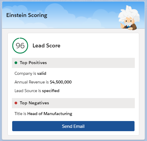 Salesforce Einstein Lead Scoring User Interface (UI)