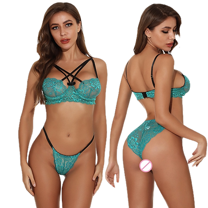 Delicate Green Lace See Through Bra and Panty Sets
