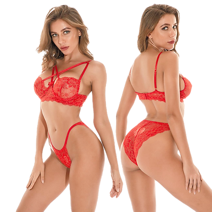 Delicate Red Lace See Through Bra and Panty Sets