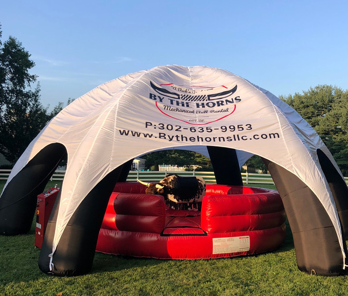 Mechanical Bull Setup with Inflatable Canopy with PBR Mechanical Bull from By the Horns Mechanical Bull Rental Delaware Pennsylvania Maryland