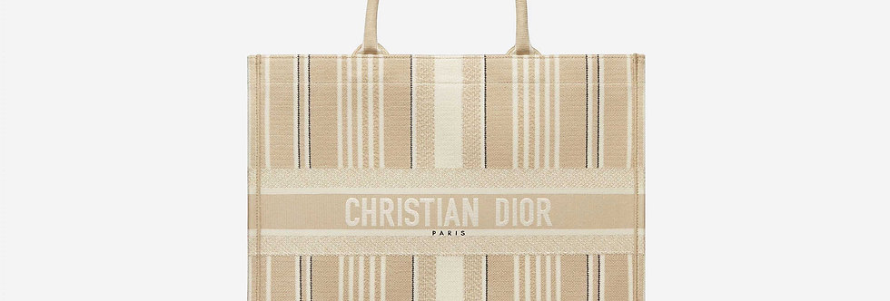 Dior Book Tote Beige Stripes Embroidery