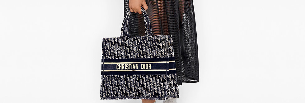 Dior Book Tote Oblique Embroidered Velvet