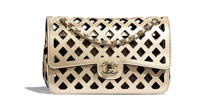 Chanel Metallic Perforated Flap Bag in Gold