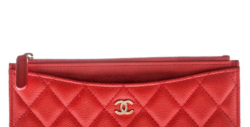 Chanel Red Quilted Leather Classic Top Zip Wallet