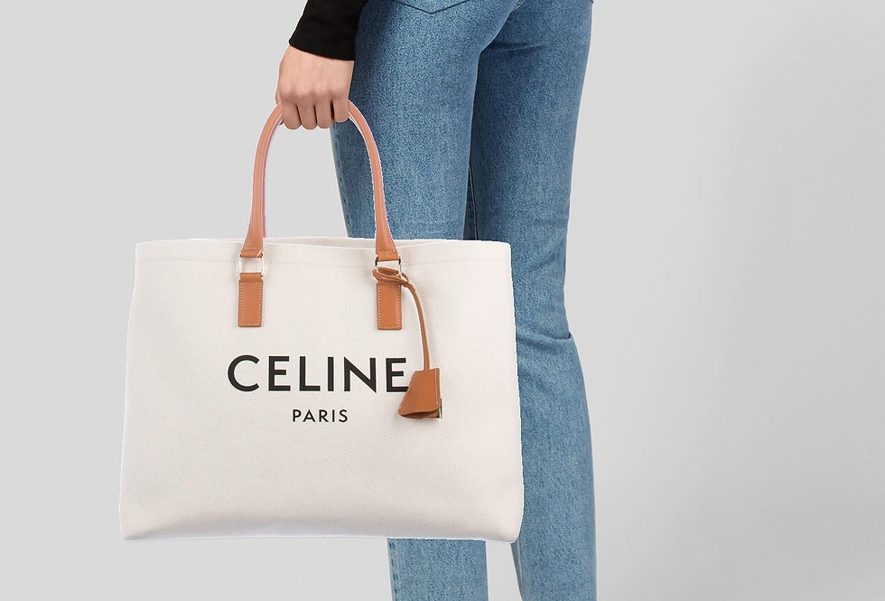 Céline Horizontal Cabas in canvas with Céline print and calfskin
