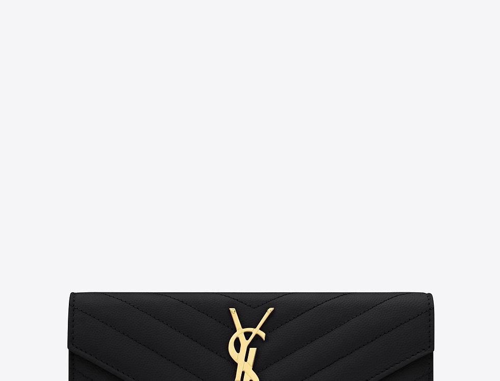 Saint Laurent Monogram large flap wallet in grain de poudre leather
