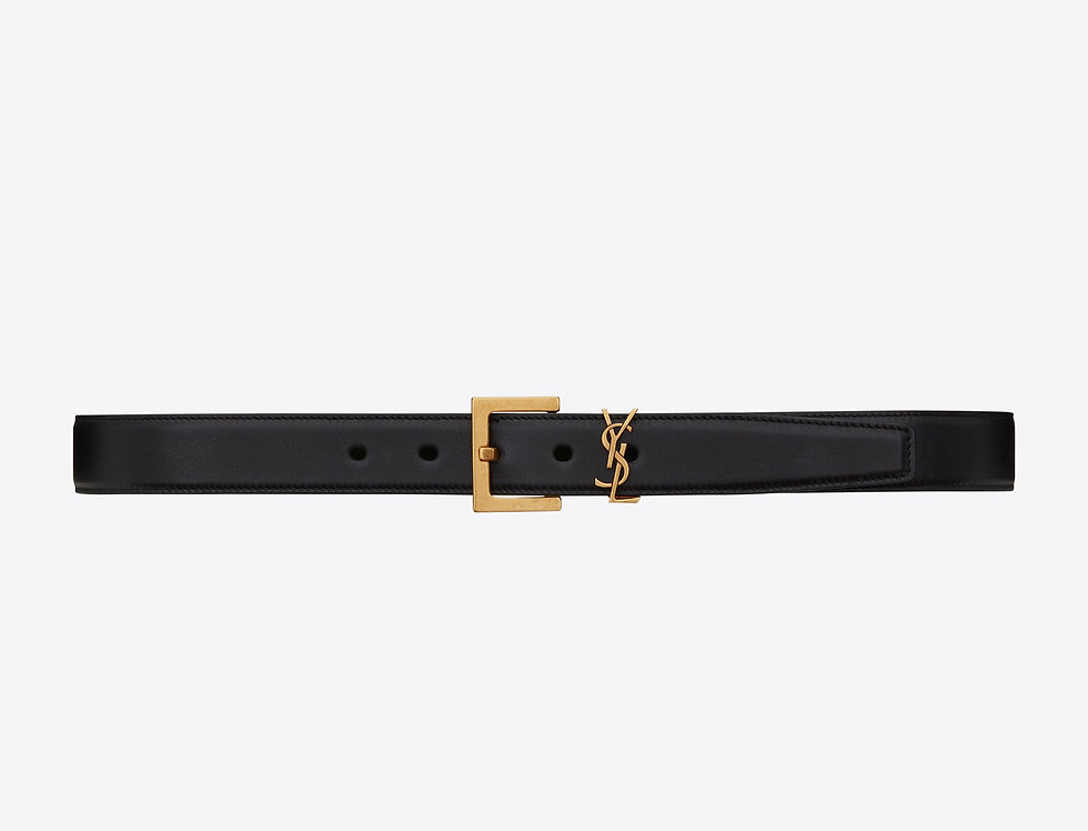 Saint Laurent Monogramme belt with square bukle in smooth leather