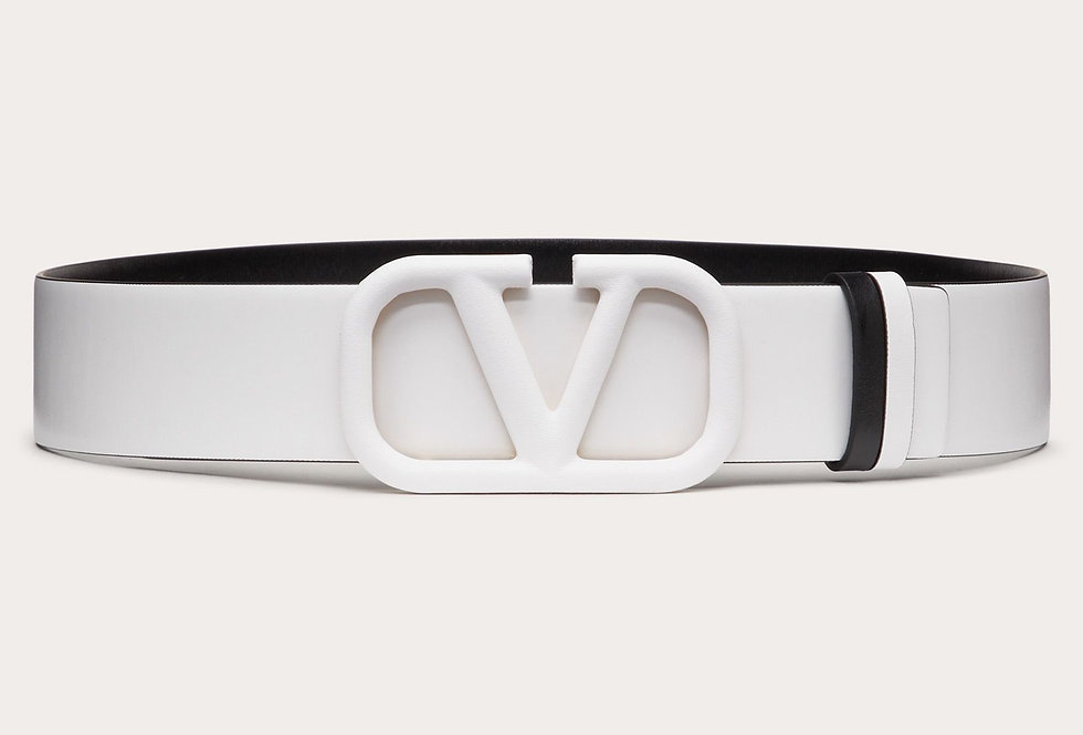 Valentino VLogo 4 cm reversible belt in glossy calfskin