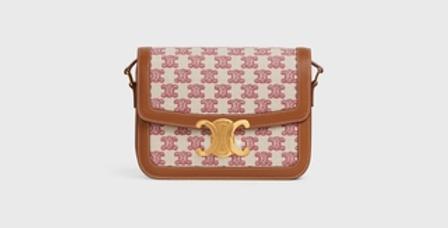 Céline Teen Triomphe Bag in Textile and natural Calfskin