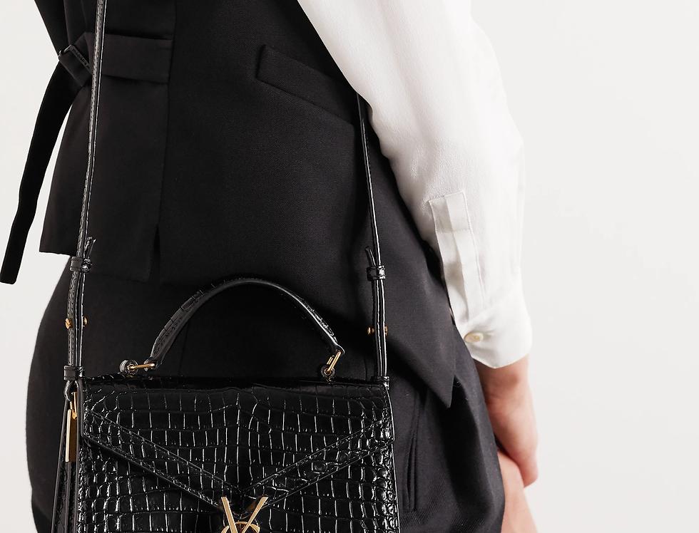 Saint Laurent Cassandra Mini Top Handle Bag in crocodile-embossed patent leather