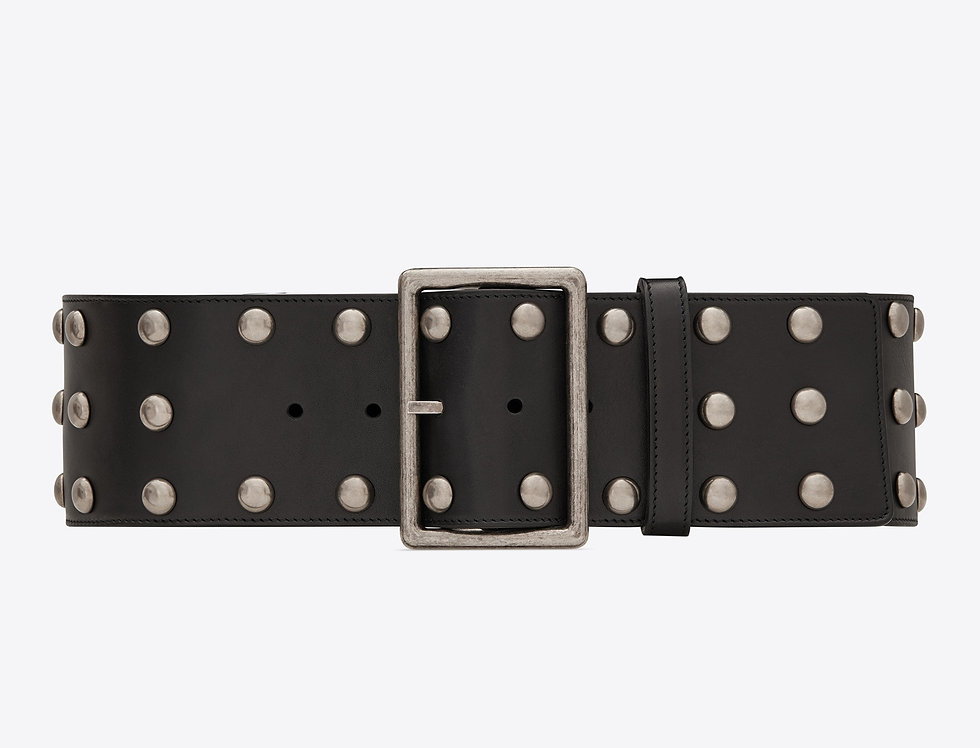 Saint Laurent Rectangle corset belt in smooth leather with studs