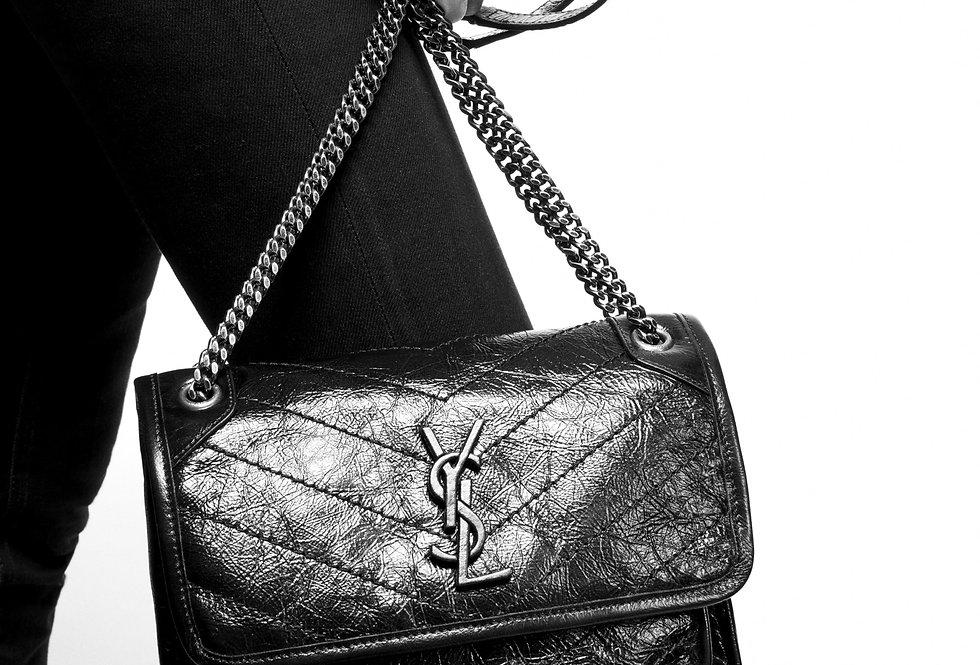 Saint Laurent Niki Baby in crinkled Vintage leather