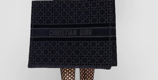 Dior Book Tote Blue Cannage Embroidered Velvet