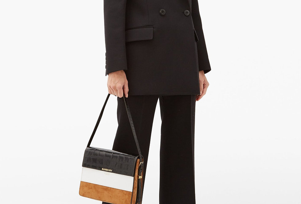 Burberry Grace Large leather and suede shoulder bag