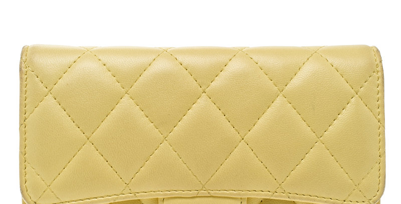 Chanel Custard (or Black) Quilted Leather CC Bifold Long Wallet