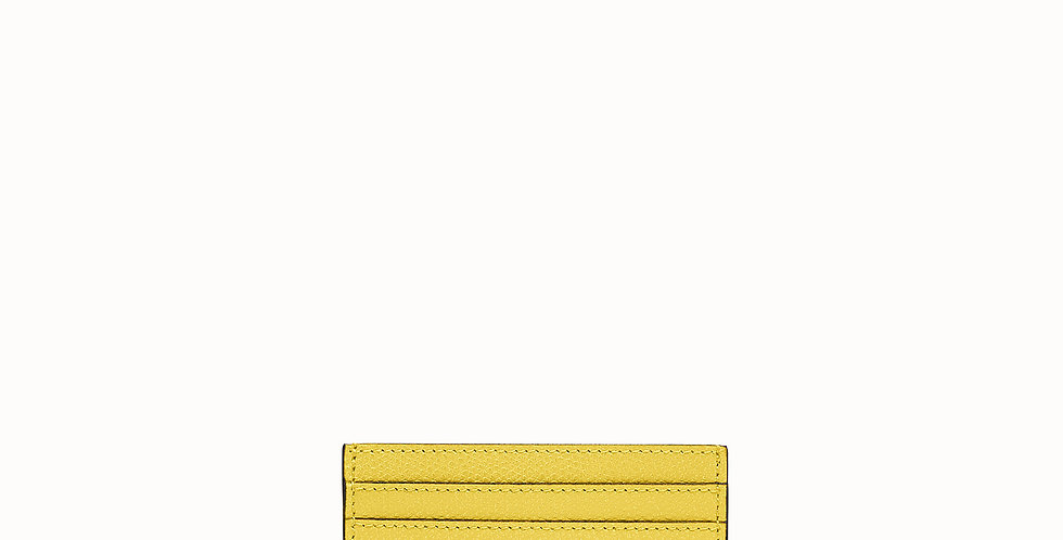 Fendi yellow, balck, pink leather flat card holder